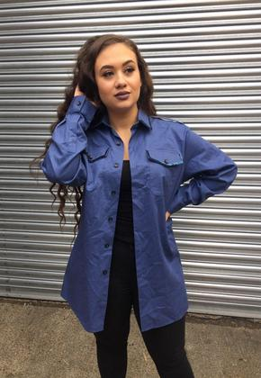 Blue Oversized Sequin Army Shirt