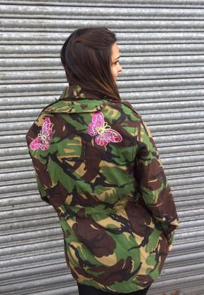 Women's Camo Jacket with Sequin Butterfly Detail