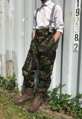 Men's Green Camo Trousers With Braces