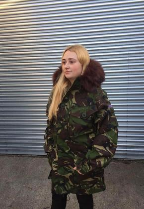 Camo Coat with Faux Fur Hood