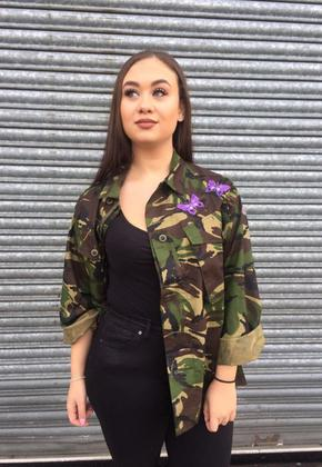Camo Shirt with Purple Butterfly Detail